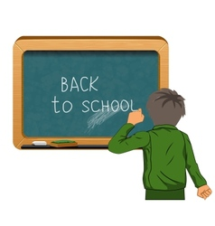 Student near blackboard vector