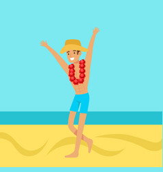 Happy man in swimsuit and hat with necklace of vector