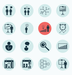Set of 16 authority icons includes decision vector