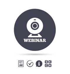 Webinar web camera sign icon online web study vector