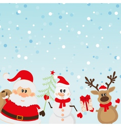 Santa claus reindeer snowman with christmas tree vector