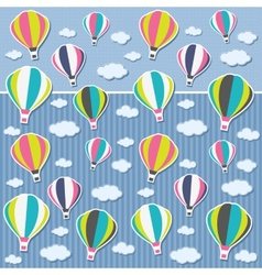 Background with air balloons and clouds vector