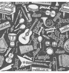 Musical instruments sketch seamless pattern vector