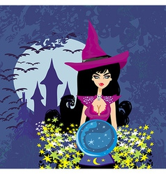 Beautiful witch with crystal ball vector