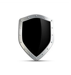 Metal shield with a black screen isolated on white vector
