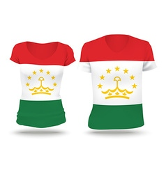 Flag shirt design of tajikistan vector