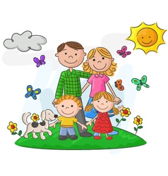 Happy family against a beautiful landscape vector