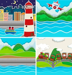 Nature scene in four places vector