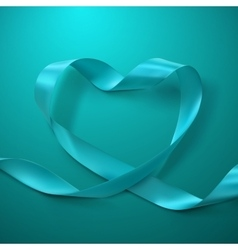 Turquoise ribbon heart vector
