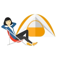 Woman sitting in folding chair vector