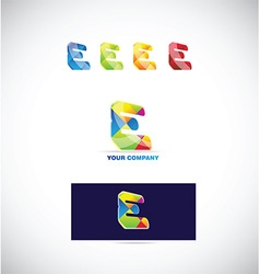 Letter e logo icon colors set vector