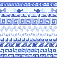 Set of native brushes to create the greek meander vector