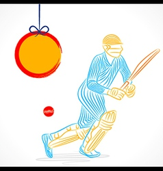 abstract cricket player design by brush stroke vector image