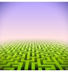Abstract green perspective labyrinth in pink mist vector