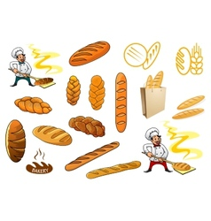 Bakers and isolated baguettes vector