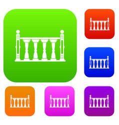 Balustrade set color collection vector