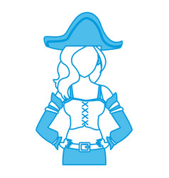 Beautiful woman pirate cartoon vector