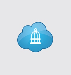 Blue cloud bird cell icon vector image