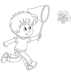 Boy catching a butterfly vector