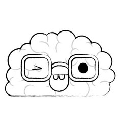 Brain character with glasses and eye wink vector