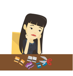 business woman bankrupt cutting her plastic card vector image vector image