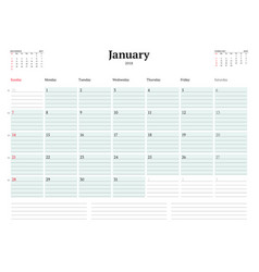 calendar planner template for 2018 year vector image