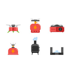 camping stove icons camping gas stove furnace vector image vector image