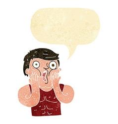 Cartoon shocked gym man with speech bubble vector