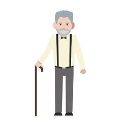 Caucasian senior man with cane icon vector