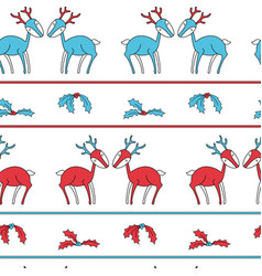 christmas stripes seamless pattern with deers vector image vector image
