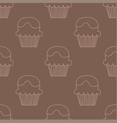 cream choco cake seamless pattern vector image vector image
