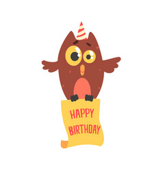 cute cartoon owl in a party hat happy birthday vector image