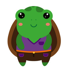 cute green turtle cartoon kawaii animal character vector image vector image