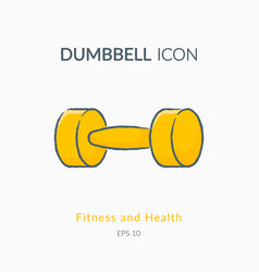 dumbbell icon isolated on white vector image vector image