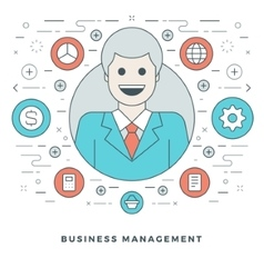 Flat line business management or support concept vector