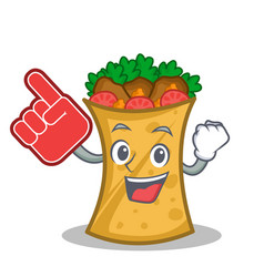 Foam finger kebab wrap character cartoon vector