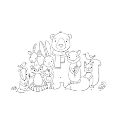 Forest cartoon animals vector image