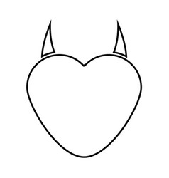 Heart with devil horn black color icon vector