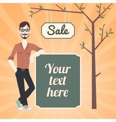 Hipster sale bannner vector image