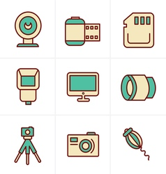 Icons Style Photography Icons Set Design vector image vector image