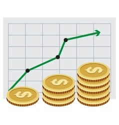 Investing money Money growth graph vector image