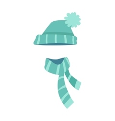 Knitted Modern Hat and Scarf with Stripes vector image vector image