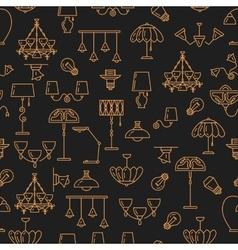 Lighting seamless pattern lamp icon brand vector