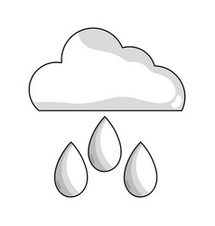 Line cloud with rain and natural weather vector
