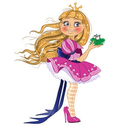 Little blond princess with frog vector image