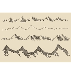 Mountains set contours engraving hand draw vector