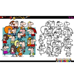 people group coloring book vector image vector image