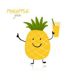 pineapple cute character for your design vector image