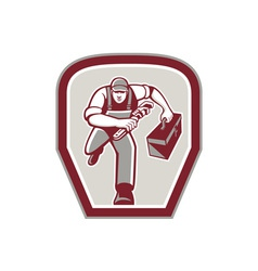 Plumber Carry Toolbox Wrench Running Retro vector image