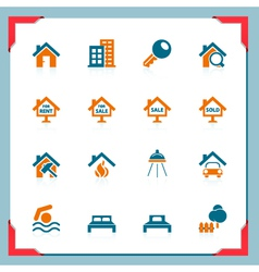 real estate icons in a frame series vector image vector image